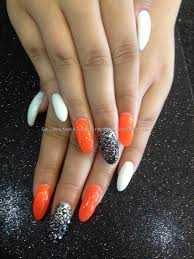 Eye Candy Nails & Training - Acrylic nails with orange and white ...