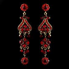 fancy that vintage style chandelier earrings red on gold