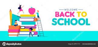 Welcome Back School Web Banner Illustration Children Playing