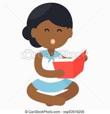 happy african reading open book vector