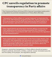 Chinese Communist Party Organization Chart Cpc Unveils Regulation To Promote Transparency In Party