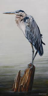 great blue heron painting the sentinel portrait of a great blue heron by dreyer