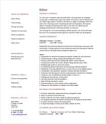 Sample Writer Copy Editor Resume
