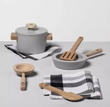 hearth hand magnolia wooden toy kitchen cook play set 8 pc sold out farmhouse