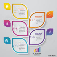 Chart Paper Presentation 5 Steps Infographics Element Template Chart For Presentation