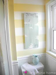 Our Prairie Home Downstairs Bathroom A Reveal Striped Accent - Yellow and white bathroom