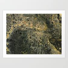 fluid black and gold acrylic pour painting art print
