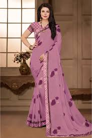 Light Purple Color Saree Pure Georgette Printed Saree In Light Purple Colour