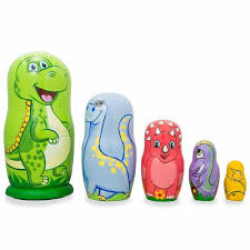 details about set of 5 dinosaurs wooden nesting dolls 6 inches