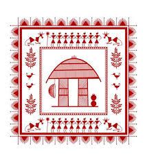 maroon white cotton canvas warli tribal art print by wall decor model no