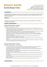 assistant manager skills assistant manager trainee resume samples qwikresume