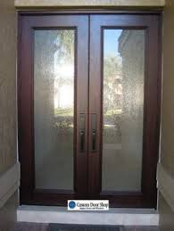 glass front doors privacy. Contemporary And Clean Front Door Look. Double Doors Made From Mahogany Wood Textured Glass Privacy N