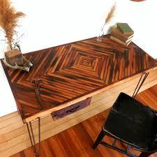 view in gallery reclaimed wood desk diamond pattern