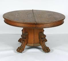 antique oak pedestal table round oak pedestal table carved lion head and feet antique oak pedestal table
