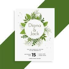 Wedding Card Design Green Leaves Wedding Invitation Card Design Download Free Vector