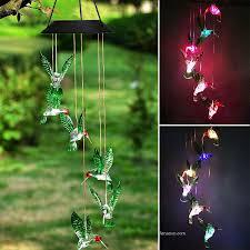 led hummingbird style wind chimes