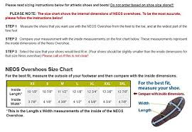Neos Overshoes Size Chart