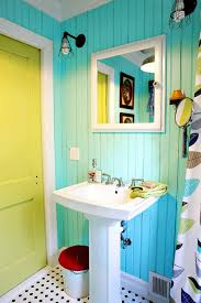 Turquoise, White and Yellow Bathroom