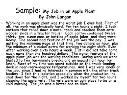 writing personal essays ellen beck ppt sample my job in an apple plant by john langan working in an apple plant