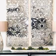 champagne mirrored mosaic damask wall