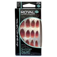 Royal Umělé Nehty Nalepovací S Lepidlem Vínovo červené Oranžové Summer Sunset Stiletto 24 Glue On False Nails Tips 24ks S Lepidlem 3g