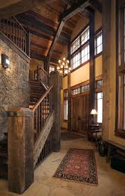 western mine style ski in ski out home entry stairwell
