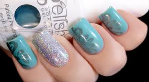 Weekly Mani: Gelish Up in the Blue with stamp and glitter accent nail