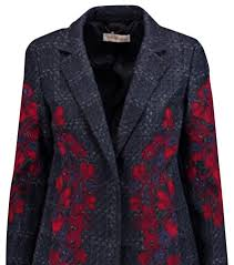 tory burch navy women s scarlet fl appliqué tweed trench coat size 6 s coats item