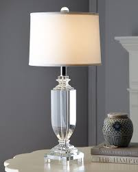 ... Modern Table Lamps For Bedroom Home Decor Engaging Room With White Drum  Shade Also Crystal Pipe ...