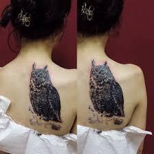 татуировка на лопатке у девушки сова фото рисунки эскизы