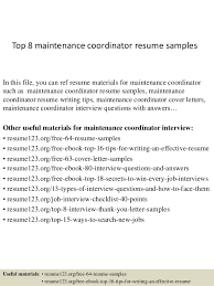 maintenance resume samples top 8 maintenance coordinator resume samples 1 638 jpg cb 1428136886