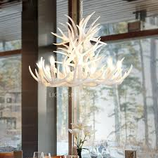 white faux antler chandelier canada twig 9 light modern painting candle 1