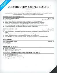 Construction Worker Cover Letter General Laborer Resume Construction