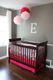 Cute And Lovely Baby Girls Nursery Room Designs : NiceLooking Grey Baby Girls  Nursery Room Decoration with Classic Dark Wood Standart Crib a.