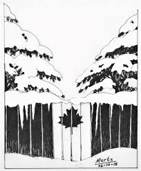 fence drawing. Pen And Ink Canada Snow Fence Maple Leaf Drawing Illustration