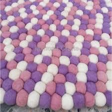 pink purple white mix felt ball rug