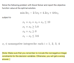statistics and probability archive chegg com solve the following problem excel solver and