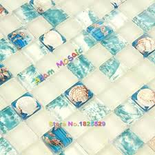 painting glass tiles blue and white frosted resin conch beach style bathroom wall mosaic kitchen backsplash