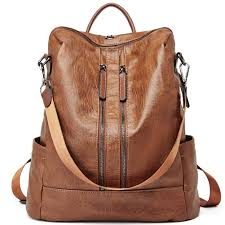 com women backpack purse leather fashion travel casual detachable las shoulder bag brown clothing