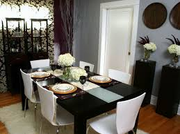 black wood rectangular dining table. Simple Beautiful Dining Table Decoration Ideas Rectangle Black Wood Top Decorating Glass Flower Vase Centerpieces Brown Laminate Floor White Acrylic Chairs Rectangular