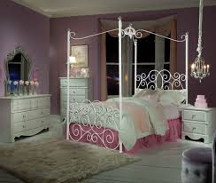 Bedroom:Artistic Metal White Canopy Bed With Wrought Iron Headboard Also  Ruffled Duvet Artistic Metal