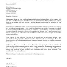 Academic Cover Letter Examples Academic Advisor Cover Letter Sample