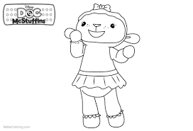 Doc Mcstuffins Coloring Pages Lambie Line Drawing Free Printable