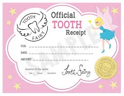 free tooth fairy certificate receipt printable