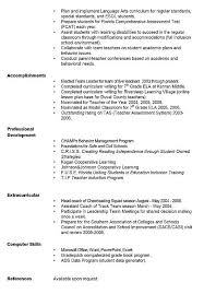 Examples Of Teacher Resume