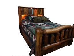 log rustic furniture amish. Amish Rustic Pine Log Bed With Bookcase Headboard And Spindle Footboard Furniture W