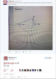 wendy s twitter is now solving geometry questions for people ur wendy s twitter is now solving geometry questions for people