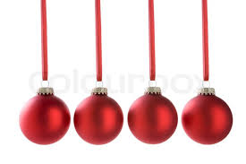 Christmas; xmas; decorations; baubles; festive; noel; holiday; red;  christmas tree; group; line; hanging; ribbon; cut out; studio; horizontal |  Stock Photo ...