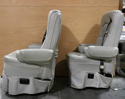used set of 2 gray hi tech kustom fit motorhome captain chairs rv furniture for
