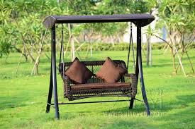 2 person wicker patio garden swing chair haning hammock rattan outdoor cover seat bench with cushion